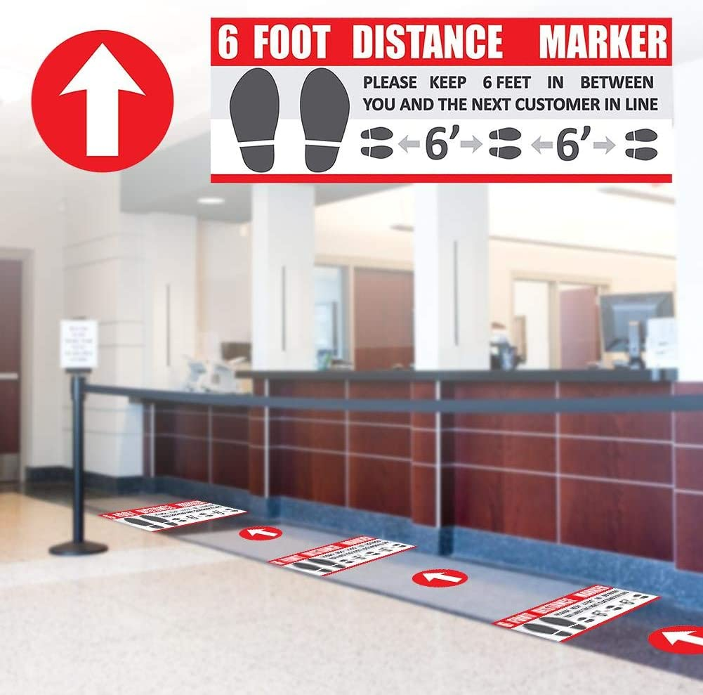 24 Floor Decals 6ft Distance Marker Floor Decal for Social Distancing While in Line Pack of 12 or 24