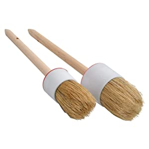 Milky House Chalk Paint Wax Brush, Bristle Round Wax Brush for Painting or Waxing Furniture Home Decor, Wood Handle Chalk Painting Brushes Set
