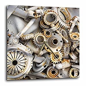 3dRose dpp_45007_3 Steampunk Rusty Parts-Wall Clock, 15 by 15-Inch