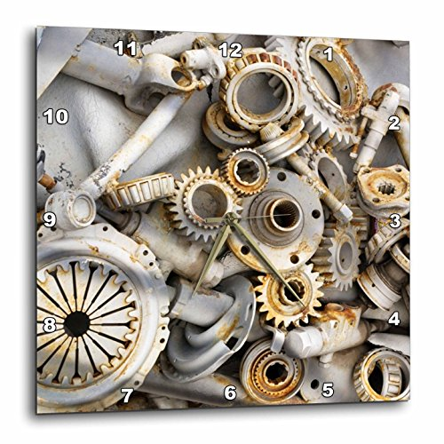 3dRose dpp_45007_3 Steampunk Rusty Parts-Wall Clock, 15 by 15-Inch