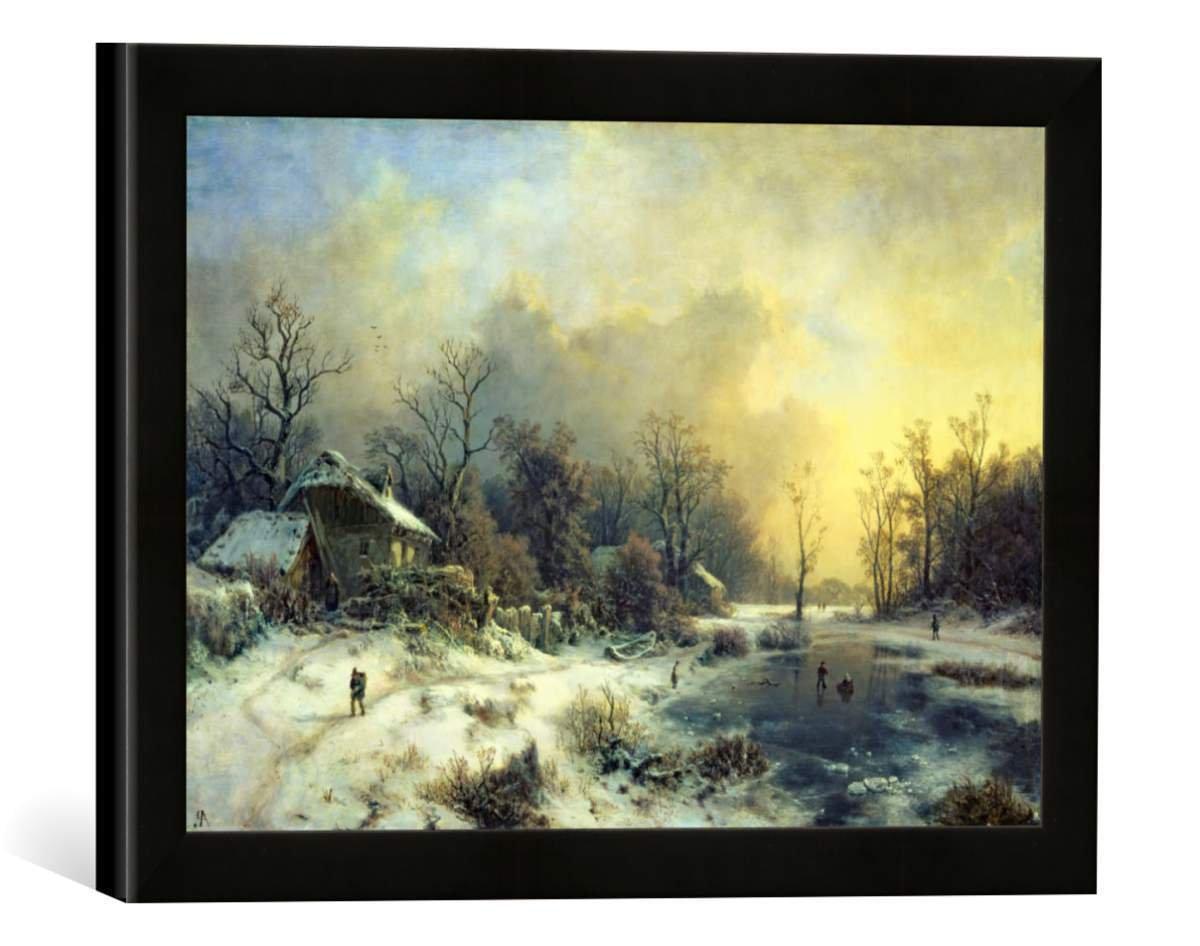Gerahmtes Bild von August Piepenhagen Winterlandschaft mit gefrorenem Teich, Kunstdruck im hochwertigen handgefertigten Bilder-Rahmen, 40x30 cm, Schwarz matt