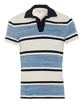 7c9c87947 Orlebar Brown Mens Terry Ronald Stripe Polo Shirt, Butterfly Blue White Polo:  Amazon.co.uk: Clothing