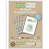 Eco-eco Lot de 100 pochettes plastique 100% recyclable transparentes et lisses A4