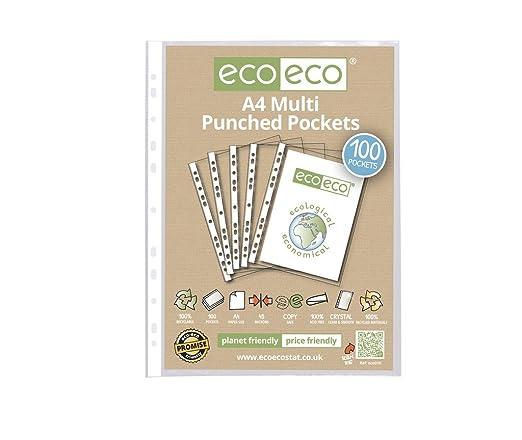 2 opinioni per eco-eco- Buste perforate in formato A4, 100% in plastica riciclata liscia,