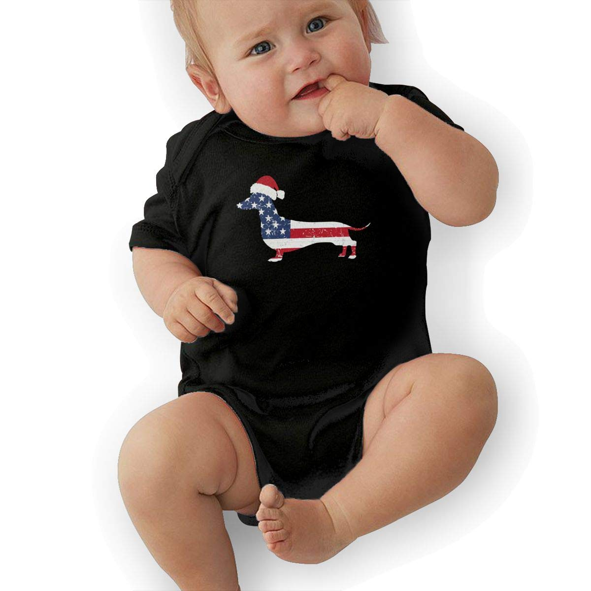 Cute American Flag Dachshund Onesies U88oi-8 Short Sleeve Cotton Rompers for Unisex Baby