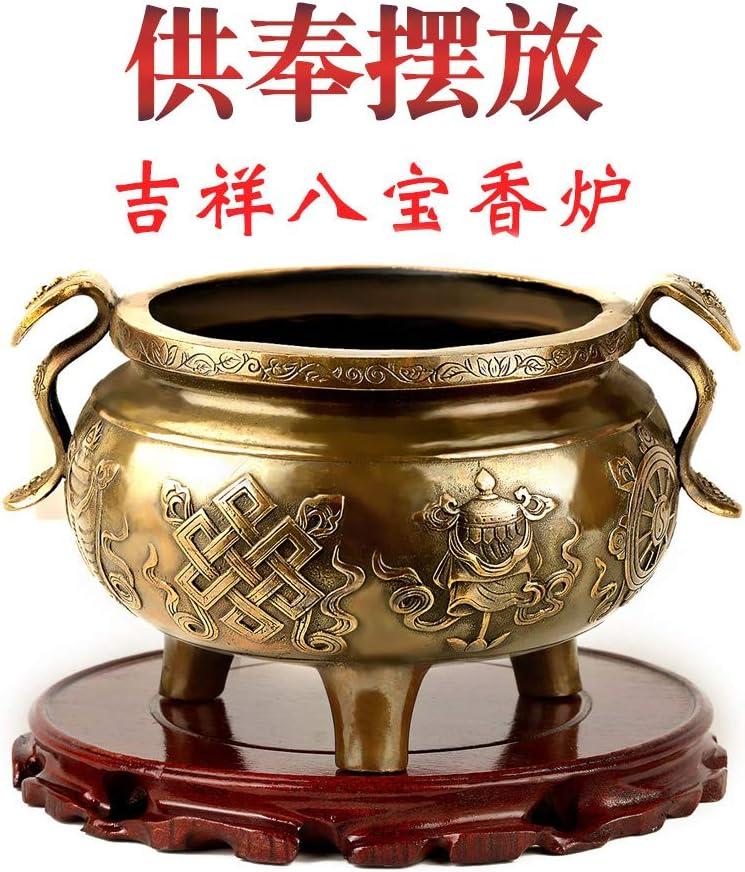 EBERMA Adornment,风水 Feng Shui Furnishing Articles 开光纯铜香炉供佛家用室内大号佛具用品八宝香炉三足铜鼎