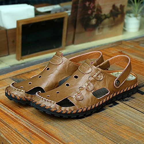 Xing Lin Sandalias De Verano Baotou Calzado De Playa_Cuero Sandalias De Cuero Transpirable Baotou Antideslizante Artesanales Sandalias De Hombre De Gran Tamaño Khaki