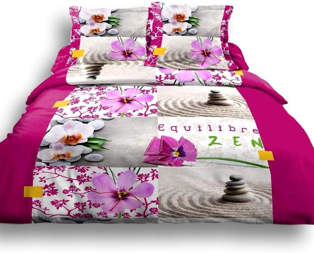 2 Taies 65x65cm100/% Coton 57 Fils Galets Zen Bouddha Orchid/ée Cflagrant/® Housse De Couette 220x240 2 Personnes Gris
