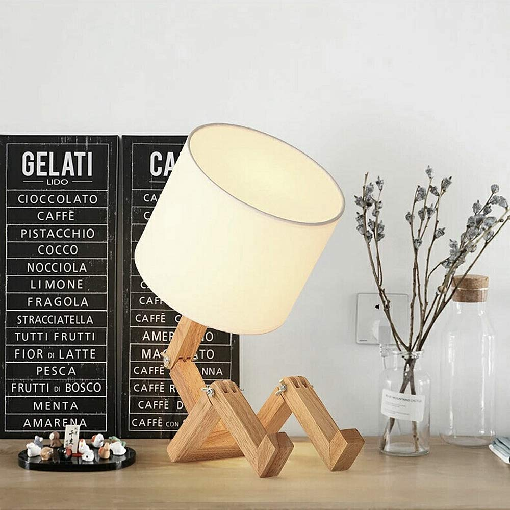ELINKUME Robot Bedside Lamp, Fabric Lampshade Match Foldable Solid Wood Body, Creative E27 Screw Table Lamp for Bedroom Living Room