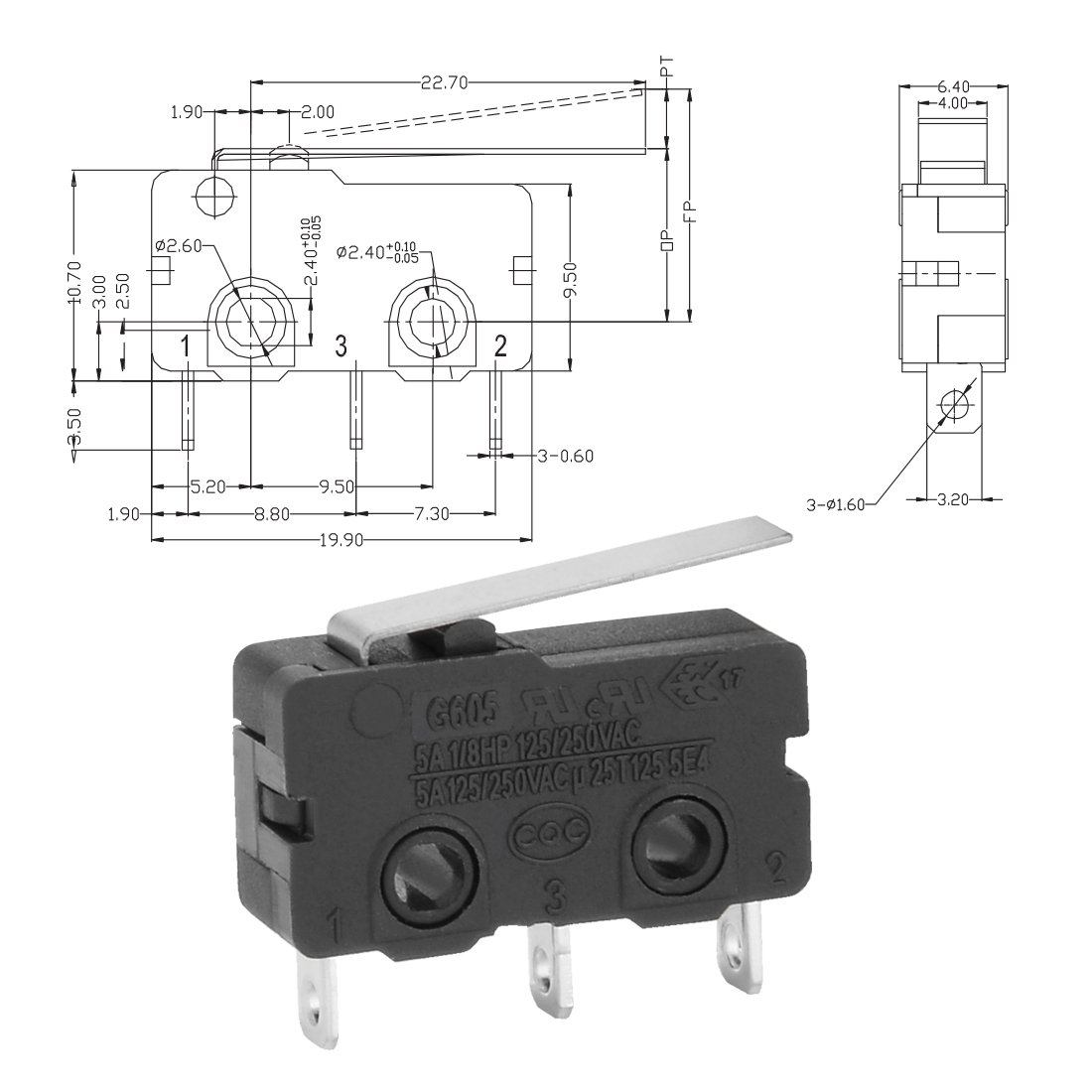 uxcell 10Pcs G605-150S01A SPDT NO+NC KW12 Straight Hinge Lever Control Mini Micro  Switch Black - - Amazon.com