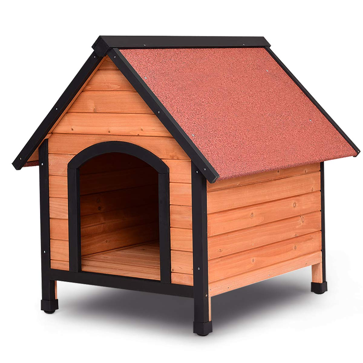 Tangkula Dog House, Wooden Pet Kennel, Outdoor Weather Waterproof Pet House, Natural Wooden Dog House Home with Reddish Brown Roof, Pet Dog House (Large)
