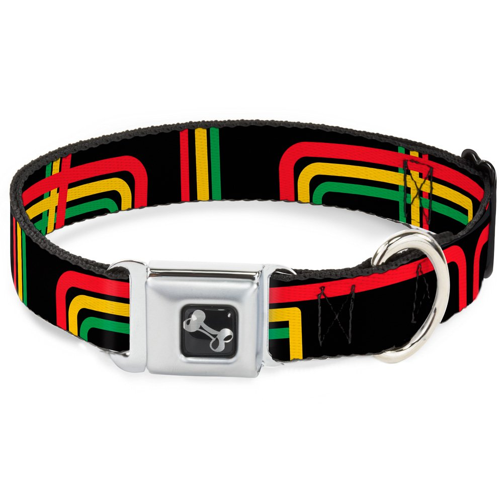 Buckle-Down Seatbelt Buckle Dog Collar Maze Lines Black Rasta 1.5  Wide Fits 16-23  Neck Medium