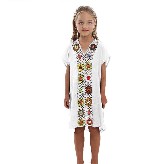 d3154aab7326 Landove Copricostume da Bagno Bambini Vestito Lungo Scollato V con Spacco ( Bianco