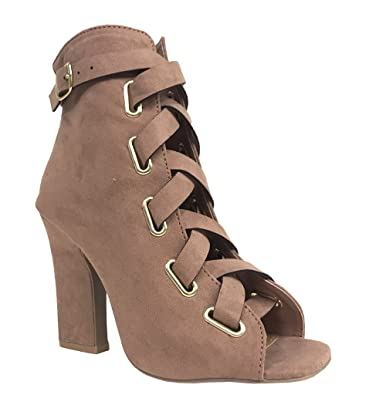 LITE 04! Qupid Women's Peep Toe Ankle Buckle Strap Lace Up Heeled Ankle Booties