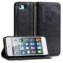 iPod 5 Case, GMYLE(R) Wallet Case Simple for iPod touch 5th Generation - Black Crazy Horse Pattern PU Leather Folio Wallet Stand Cover