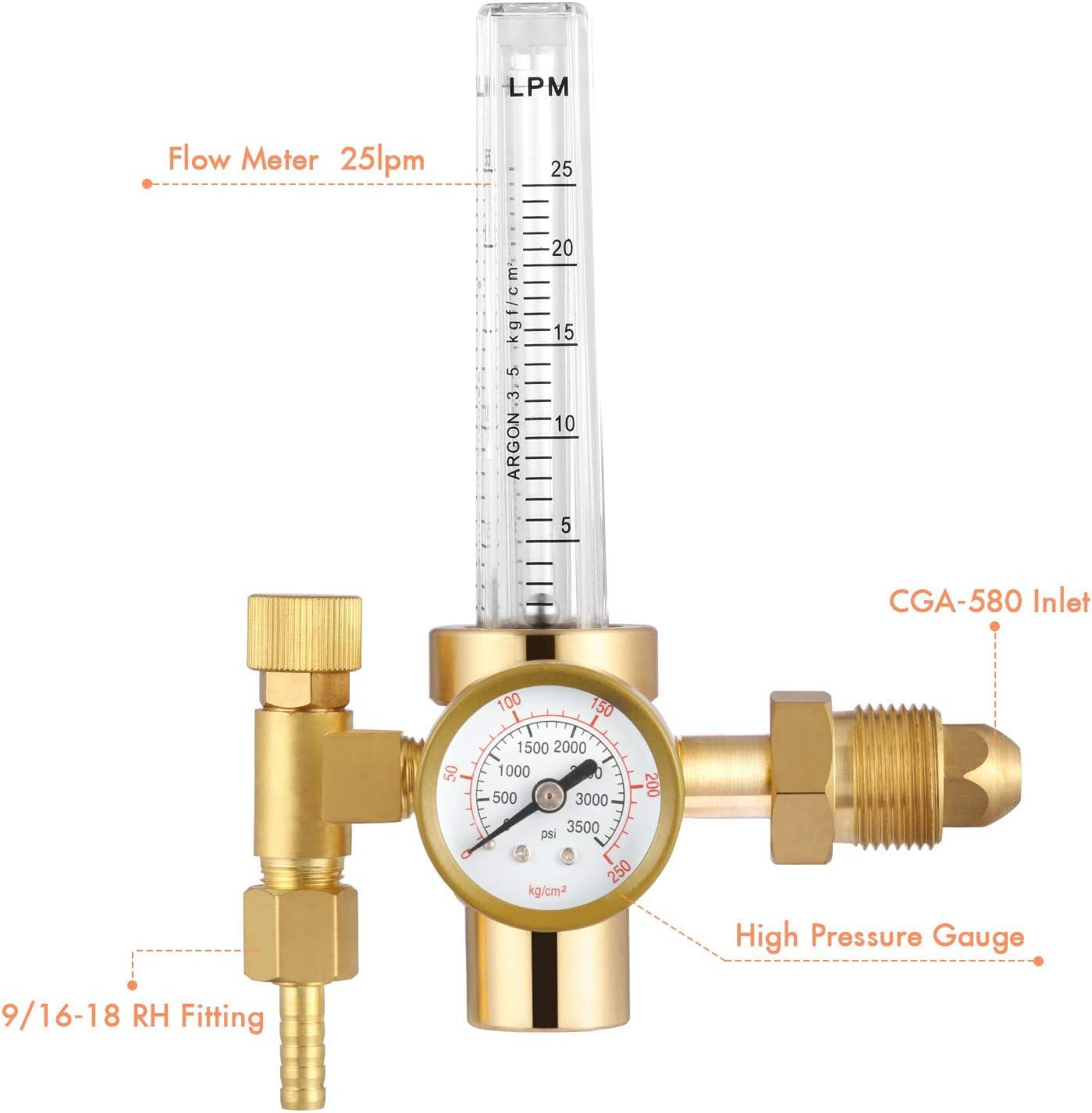 Argon Gas Regulator Flowmeter 0-25lpm CGA-580 for TIG Welder Machine Full Copper Gas Values Welding Accessory for Tig Welding machine