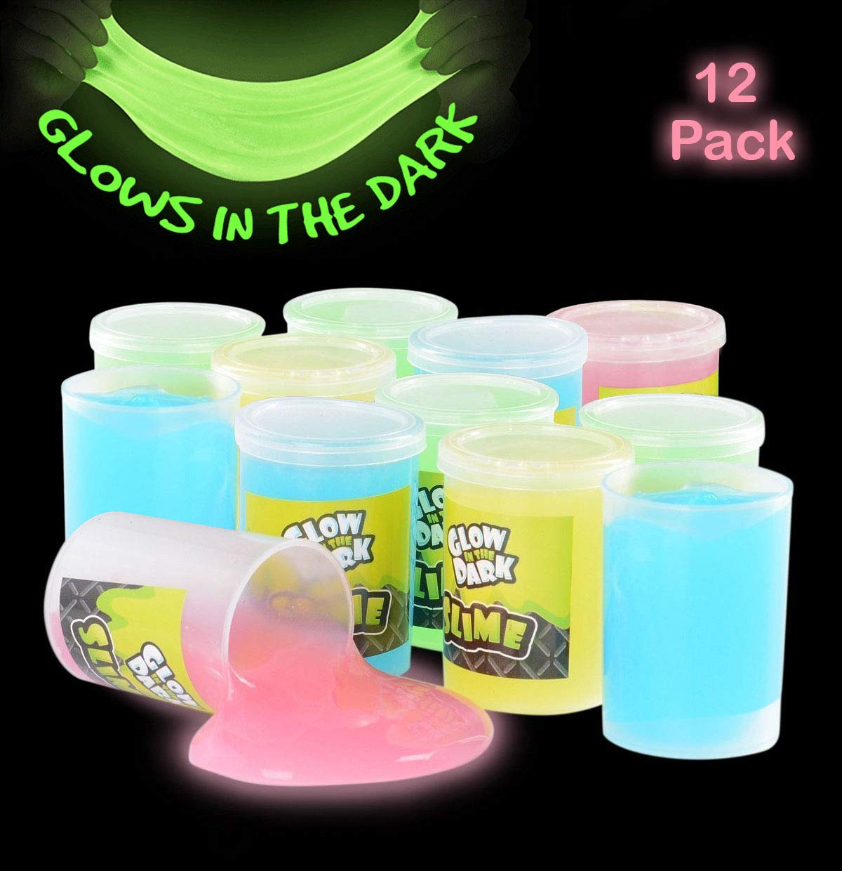 Katzco Glow in The Dark Slime - 12 Pack Assorted Neon Colors - Green, Blue, Orange and Yellow for Kids, Goody Bag Filler, Birthday Gifts Non-Toxic by Katzco