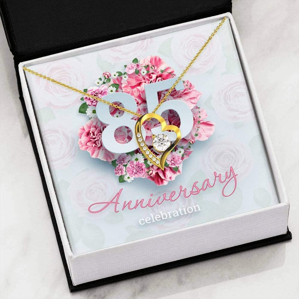 Unique Gifts Store 85th Anniversary Celebration v01 Forever Love Heart Necklace 18k Yellow Gold Finish