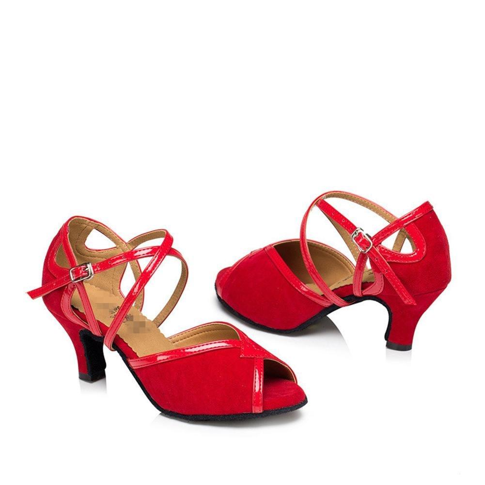 Wgwioo Frauen Sandalen Salsa Salsa Salsa Latin Tango Ballsaal High Heel Leder Wildleder Soft Soles Gürtelschnalle Tanz Schuhe Rot B074PRLCT2 Tanzschuhe Modebewegung 891dac