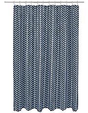Amazon Basics Microfiber Navy Blue Herringbone Printed Pattern Bathroom Shower Curtain - Navy Blue Herringbone, 72 Inch