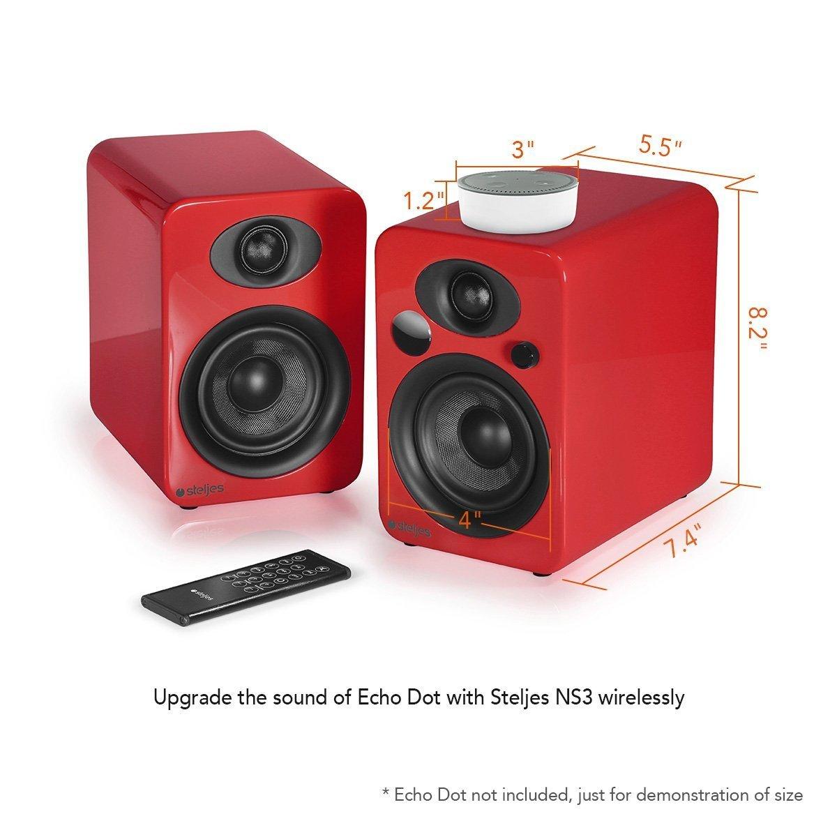 Steljes NS3 Altavoz Estéreo Inalambrica Bluetooth, Sistema de Altavoces Subwoofer Portátil, para Hogar o Aire Libre, Color Rojo Bermellón: Amazon.es: ...