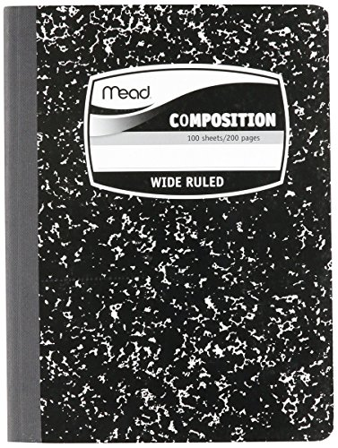 MEA09910 - Sewn Black Marble Cover Composition Book with Wide Rule 11/32, 100 Sheet, Media Size: 7.5