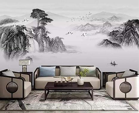 SKTYEE Papel pintado mural chino tinta paisaje cascada ...