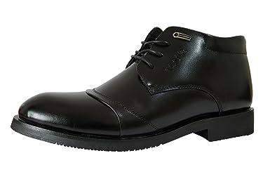 [スフォン] 冬 ショートスノーブーツ メンズ/革靴/冬靴雪/ビジネス/ドレスシューズ 綿入れのハイカット 防寒靴 撥水 ブラック