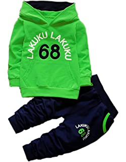 18a5a7bda8fb6 Toddler Infant Baby Boys Long Sleeve Hoodie Tops Sweatsuit Pants Outfit Set