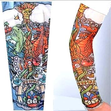 EVRYLON Tatuaje Efecto Mangas Hombre dragón Sol pez Gato Ojo Nubes ...