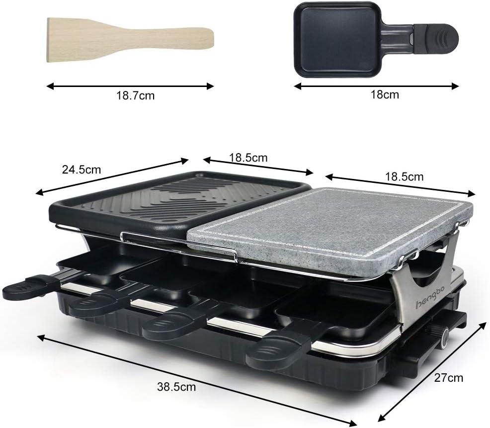 Termostato Regulable 1300W Antiadherente Incluye 8 Mini-Sartenes y 4 Esp/átulas HengBO Raclette Grill con Piedra Natural y Placa Raclette 8 Personas 2-IN-1 Grill Negro