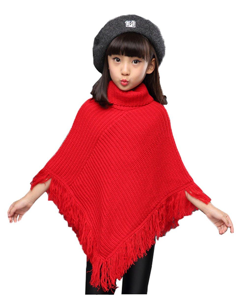 Fankeshi Girls High Neck Knitted Poncho Tassel Draped Cloak Coat Cape Sweater (Red, 9-10 Years)