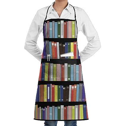 sufuncc Biblioteca Genius libros de cocina Delantal Cocina Delantales Chef delantales Ajustable Con Bolsillo Largo cuerdas