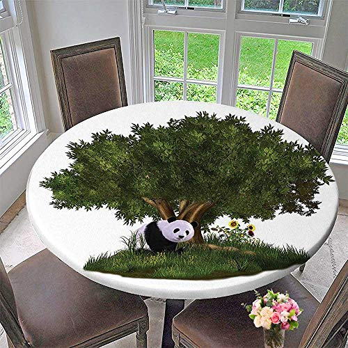 - Mikihome Modern Table Cloth Collection Cute Panda Bear Sits Under a Tree in a Meadow with Grass Indoor or Outdoor Parties 50