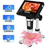 LCD Digital Microscope,ANNLOV 4.3 inch Handheld Electronic USB Microscope 50X-1000X Magnification Coin Microscope Video Camera with 8 Adjustable LED Lights for Adults PCB Soldering Kids Outside Use