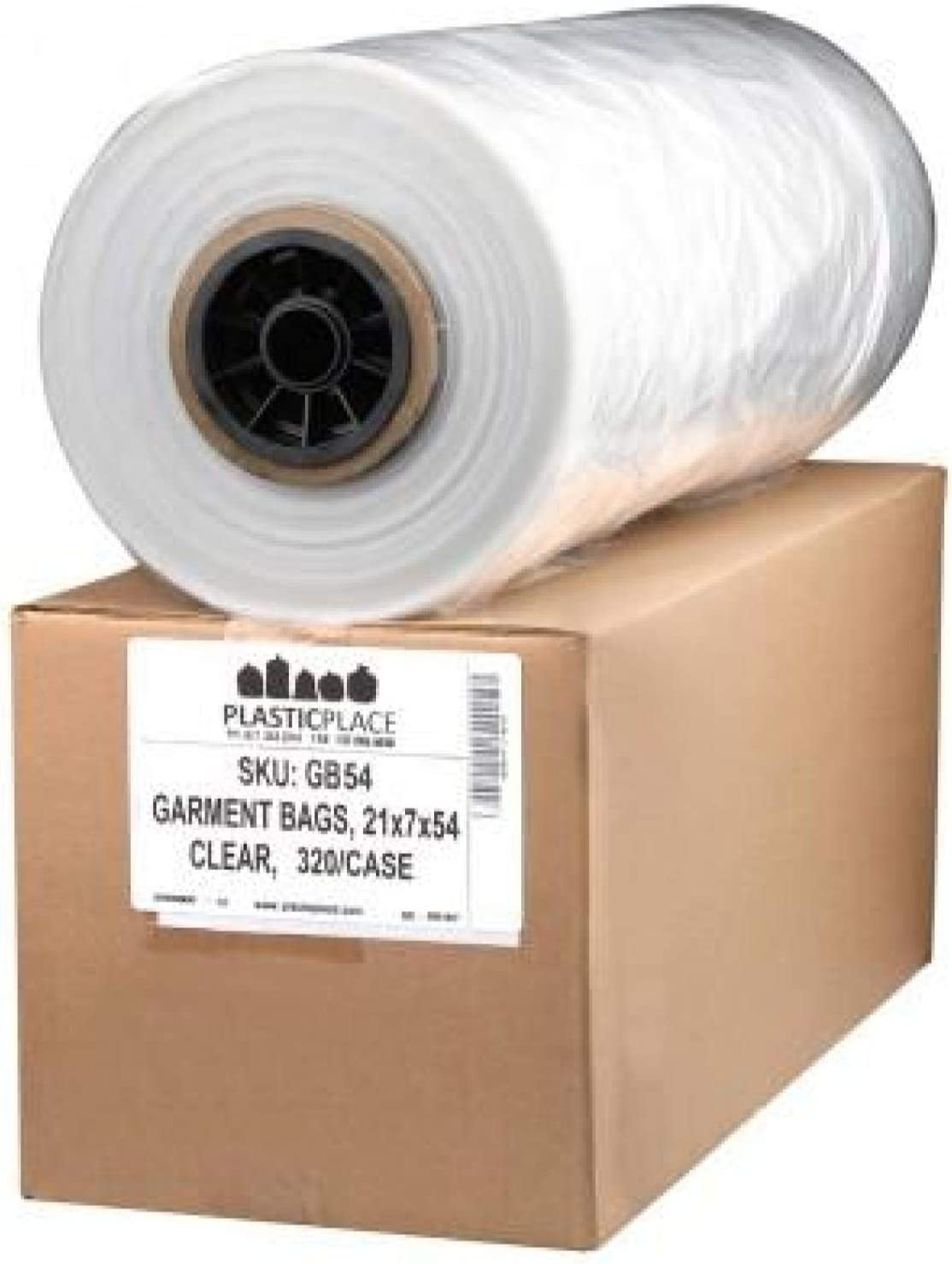 "Plasticplace .65 Mil Clear Garment Bags, 21"" x 7"" x 54"", 320 Count"