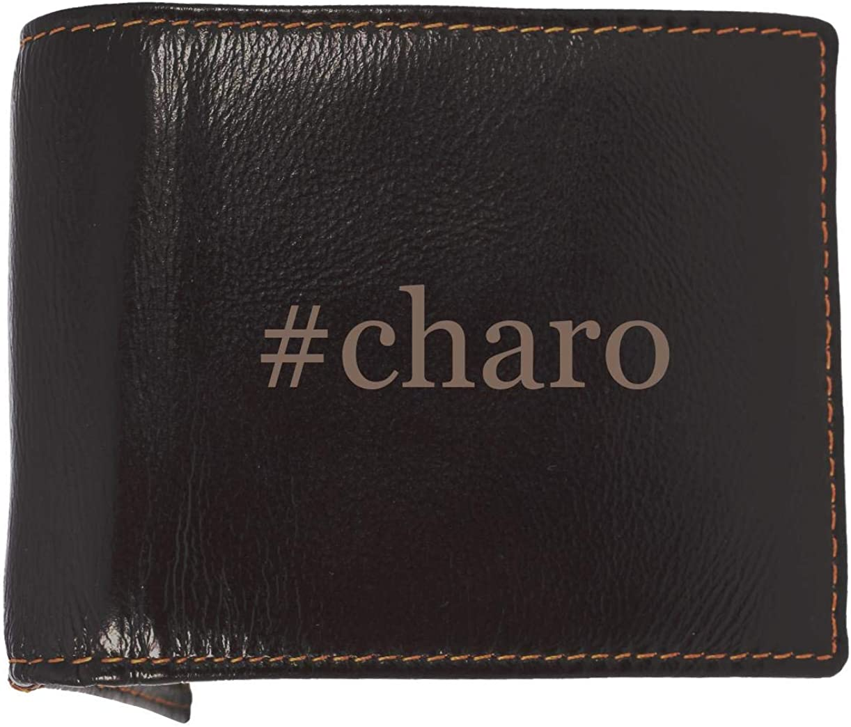 #charo - Soft Hashtag Cowhide Genuine Engraved Bifold Leather Wallet 61q0dXbcvEL