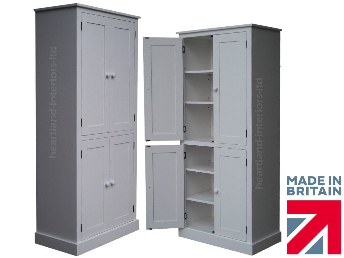 Flat pack bathroom cabinets - 100 Solid Wood Cupboard 188 Cm Tall White Painted 4 Door Pantry Larder
