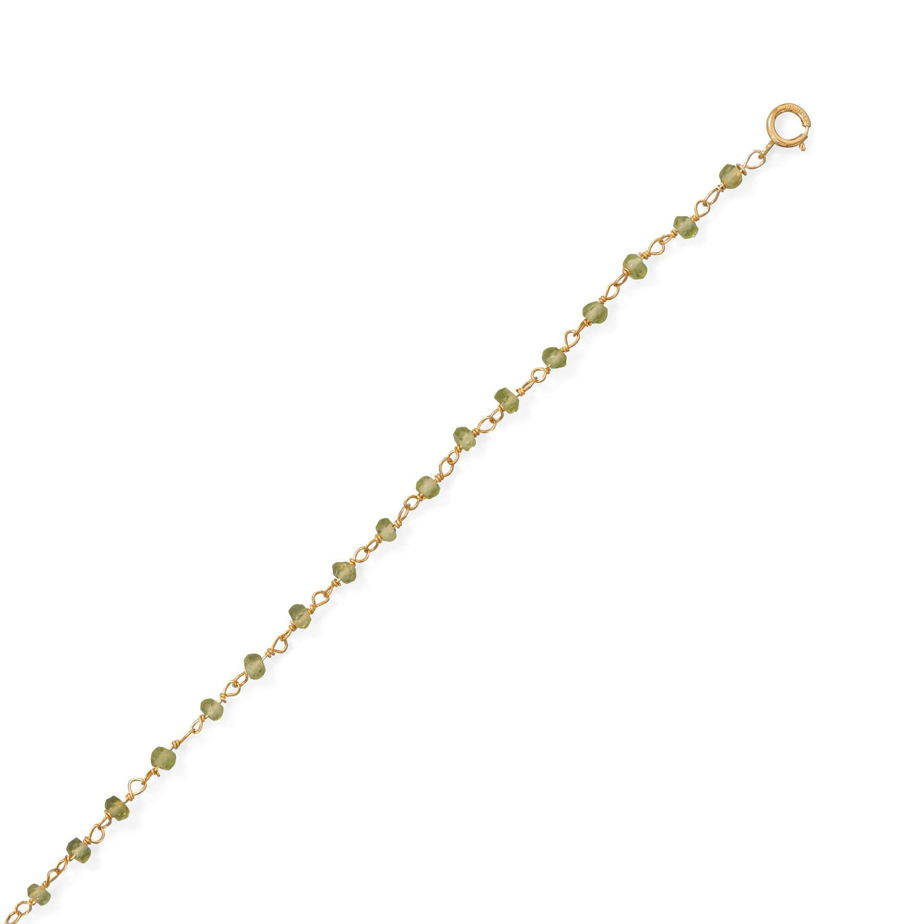 Precious Stars Jewelry 14k Gold Plated Sterling Silver Green Peridot Anklet by Precious Stars Jewelry (Image #2)