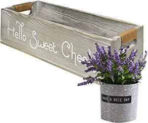 Farmhouse Home Toilet Paper Holder with Purple Lavender Potted Plant , Toilet Paper Storage , Gray Storage Basket with Funny Phrases