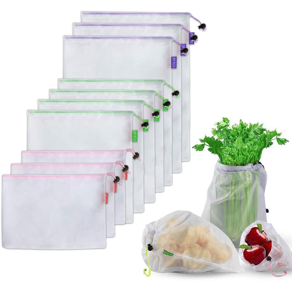 再利用可能なメッシュストレージバッグ 食料品買い物 果物 野菜 おもちゃ ストレージ メッシュ 青果バッグ 3色 10個 B07NQBS2NB