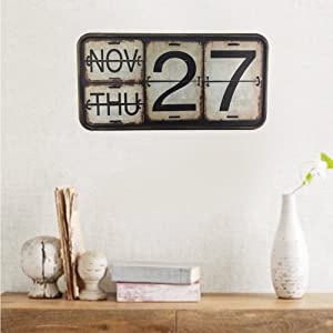 Home Metal Calendar Wall Mounted Shabby Chic Perpetual Flip Iron Calendar for Office Bar Decoration Square Shape Distressed Finish Hanging Reproduction Creative Antique Railroad (Black, Rectangle)
