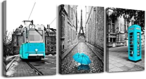Black and white landscape Eiffel Tower wall decoration for living room 3 piece canvas wall art for bedroom modern kitchen Bathroom wall decor office home decoration Blue theme pictures canvas prints
