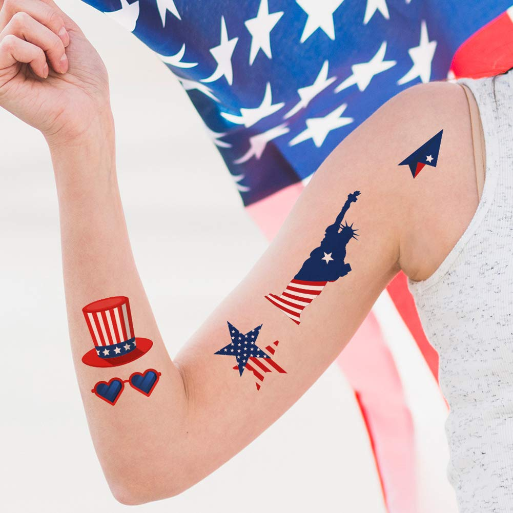 Over 100 USA Temporary Tattoos and 300 American Stickers, 4th of July Party Supplies Patriotic American Flag Tattoos and Stickers Party Favors Costume Pack