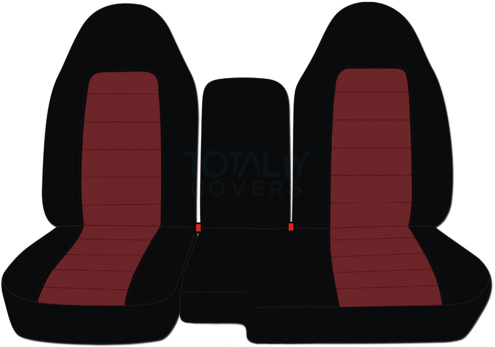 Totally Covers Fits 2004-2012 Ford Ranger/Mazda B-Series Two-Tone Truck Seat Covers (60/40 Split Bench) w Center Armrest/Console Cover: Black & Burgundy (21 Colors) 2005 2006 2007 2008 2009 2010 2011