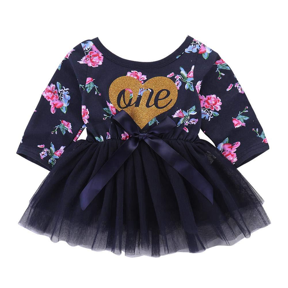 chinatera Baby Girl Princess Bowknot Tulle Tutu Dress 1st Birthday Floral Dress (Long Sleeve)