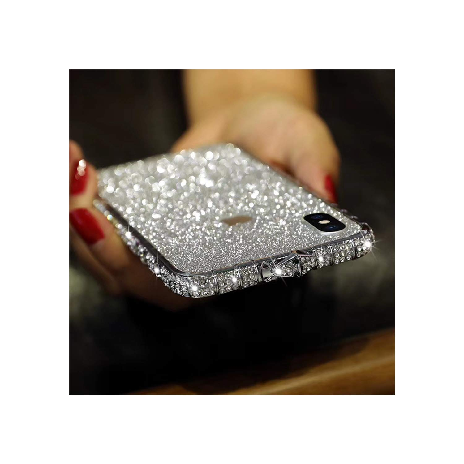 Bling Diamond Metal Bumper Case Glitter Sticker For iPhone 6S Plus 3d Bling Glitter Sparkly Luxury Rhinestone Jeweled Edge Frame For Woman Girls - Silver by DALINBA
