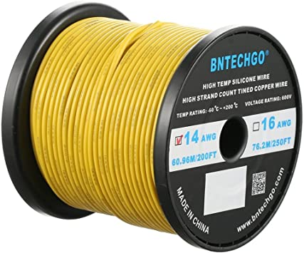 8~30AWG Yellow HIGH TEMP Super Flexible Silicone Wire Electronic Cable US 0.08mm