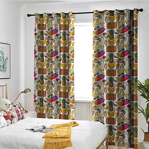 Bedroom Curtains Curtain Blackout Printing Kitchen Bedroom Living Room Summer,Vacation Themed Illustration with Straw Hat Banana Flip Flops and Travel Suitcase,Multicolor