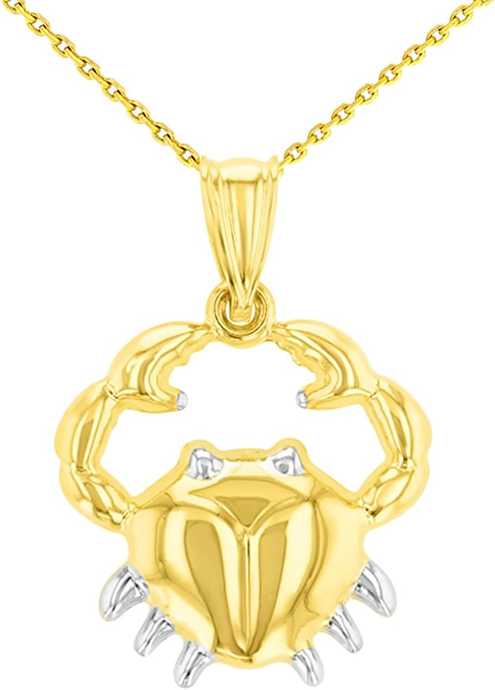 High Polish 14K Yellow Gold Cancer Zodiac Sign Pendant Crab Charm with Chain Necklace